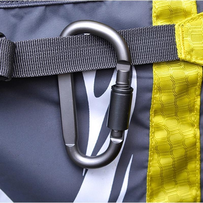 D-Shaped Camping Carabiner Aluminum Alloy Screw Dark grey Lock Hook Clip Key Ring Outdoor Camping Climbing Tools Accessories Z75