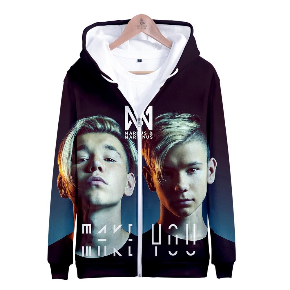 Marcus And Martinus 3D Print Women/men Hoodie Sweatshirt Long Sleeve Hooded Casual Sportwear Loose Zipper Pullover Warm Overcoat