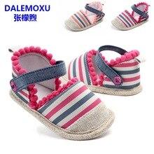 DALEMOXU Baby Casual Shoes Toddler Girl Stripe Tassel Sandals Summer Infant Anti Slip Soft Sole Prewalker 1 Year Old