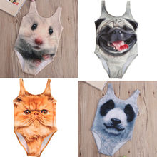 4 Styles Cartoon 3D Animal One-piece Swimsuit Kids Girls Bikini Swimwear Cute Animals Swimming Bathing Suit Swimsuits 3-10Year