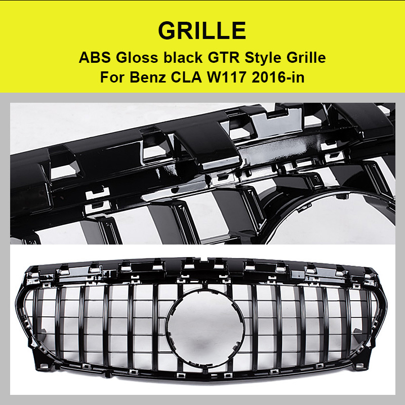 W117 GTS Style Grille ABS Glossy Black For CLA Class W117 CLA180 CLA200 CLA250 CLA45 Without emblem Front Bumper Grille 2016 in in Racing Grills from Automobiles Motorcycles