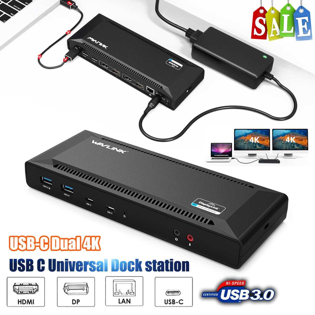 WAVLINK USB C double Station d'accueil 4 K avec livraison d'énergie 60 W 5 K seul Port d'affichage vidéo réplicateur 2 xDisplay Port 2 xHDMI