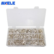 840pcs/box Terminals Non-insulated Ring Fork U-type Brass Connectors Assortment Kit Electrical Crimp Spade Ring Set It-840 420pcs box 18 type cold naked terminal kit non insulated ring fork u type terminals assortment cable wire connector crimp spade