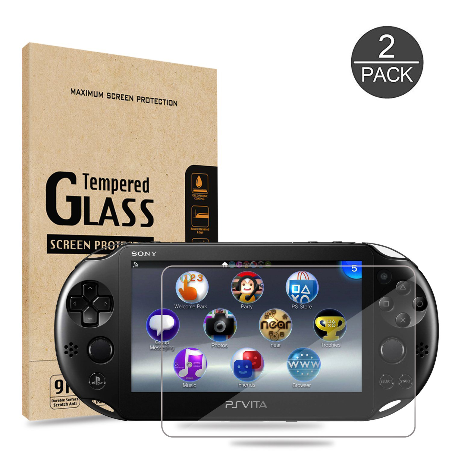 <font><b>PS</b></font> <font><b>Vita</b></font> <font><b>2000</b></font> Tempered Glass for Front <font><b>Screen</b></font> and HD Clear PET Film <font><b>Screen</b></font> Protectors Compatible Sony Playstation Back Covers image
