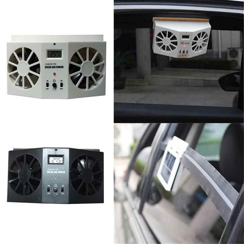 Car Solar Powered Exhaust Fan Car Gills Cooler Auto Ventilation Fan Dual-mode Power Supply High-power 2 Colors