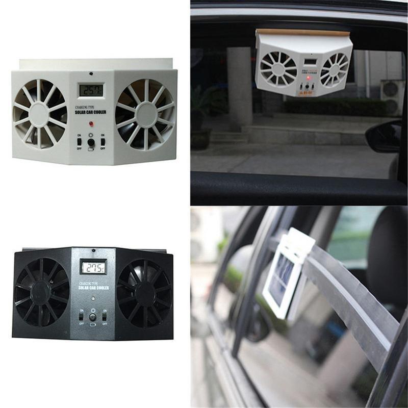 Car Solar Powered Exhaust Fan Car Gills Cooler Auto Ventilation Fan Dual mode Power Supply High power 2 Colors