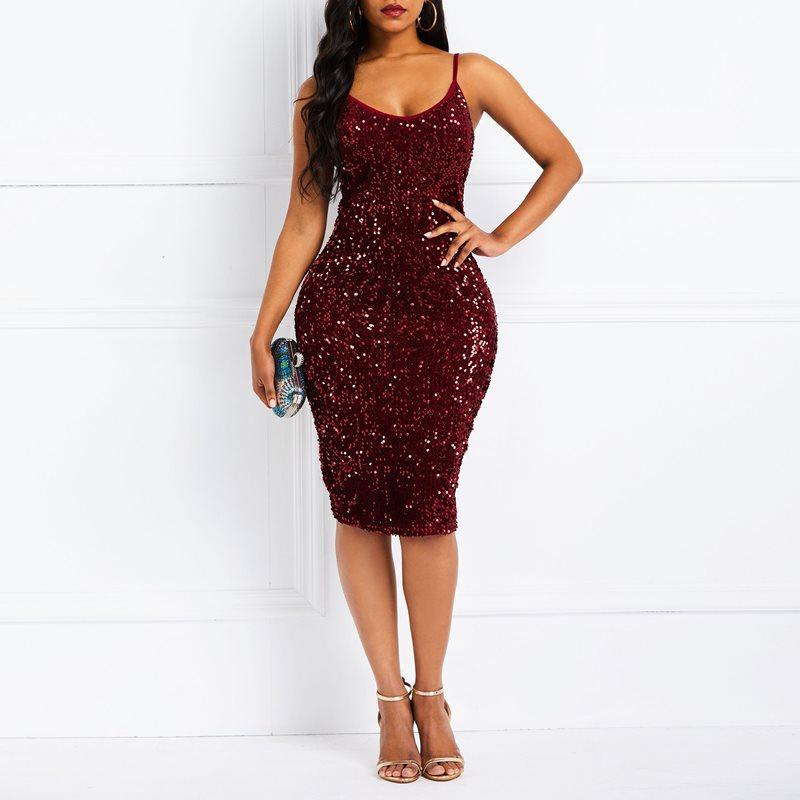 Вечеринка Клубные Дата Для женщин бордовый красный короткий Bodycon Тонкий платье хост плюс Размеры блесток Глубокий V спинки тощий платья