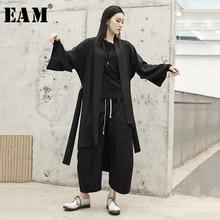 [EAM] 2019 New Spring Summer V-collar Long Sleeve Black Loose Irregular Big Size Windbreak