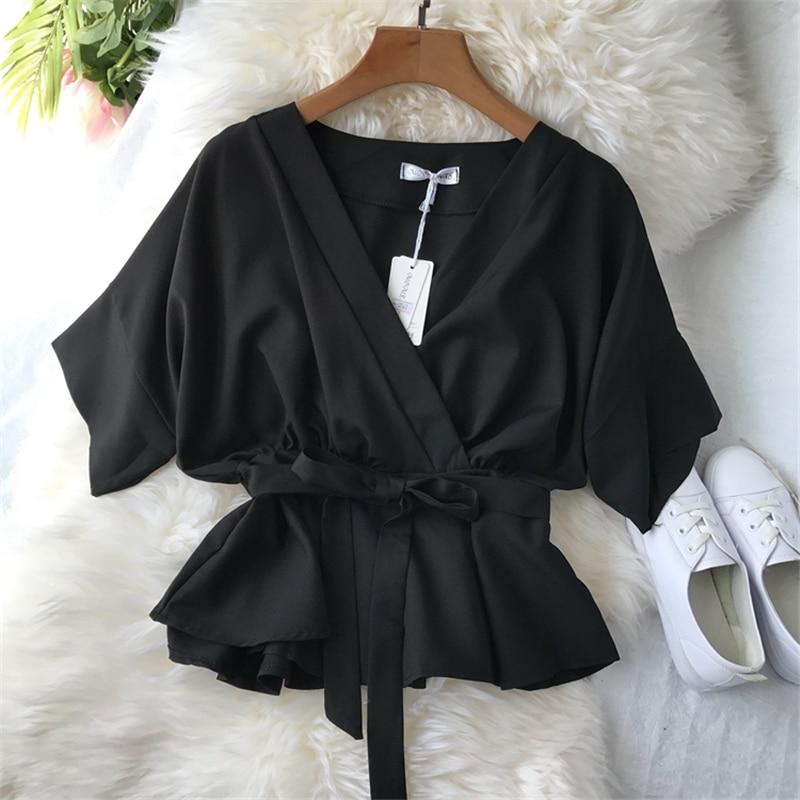 2019 Korean Women Bow Lace Up Slim Tops And Blouses Ladies V-Neck Chiffon Shirt Half Sleeve Ruffles Oversized Blusas Mujer