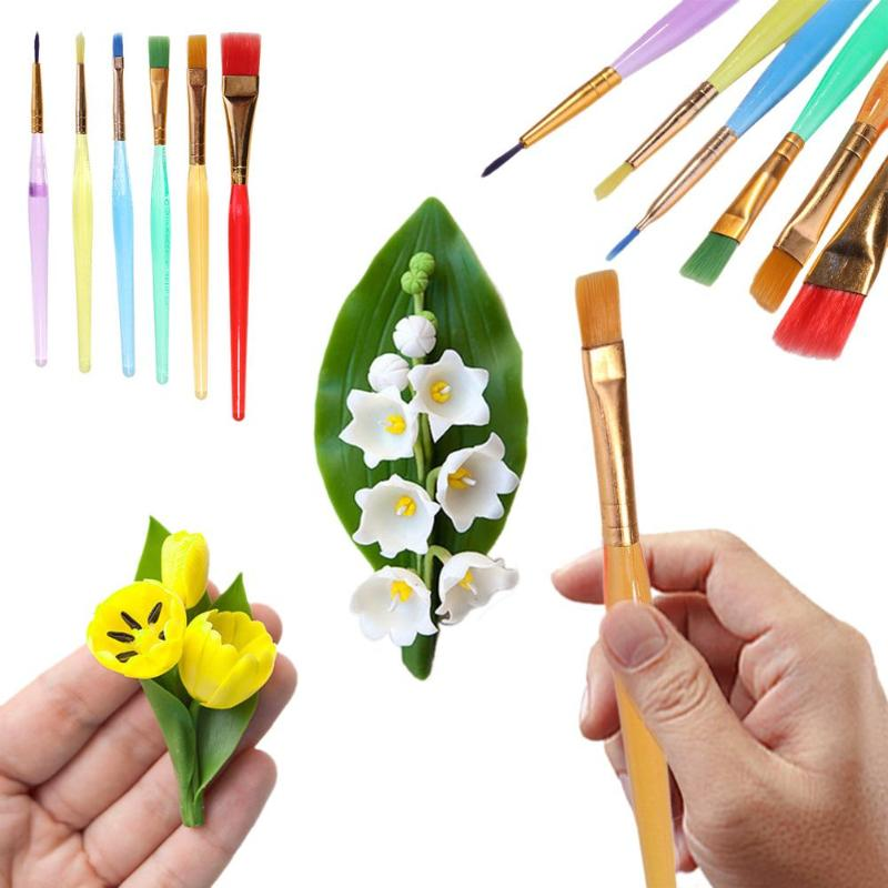 6pcs/set Plastic Fondant Cake Brushes Decorating Painting Tool Dusting DIY Pastry Tool Drawing Tools School Office Supplies New