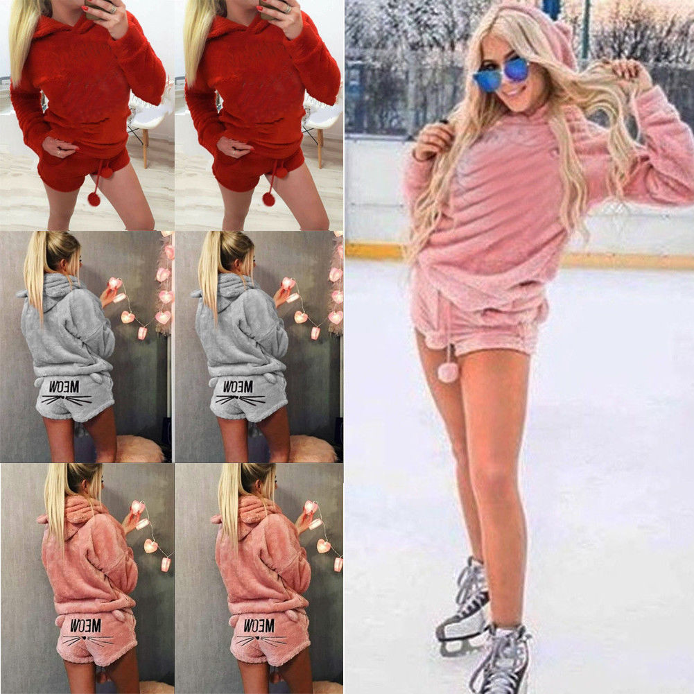 12be8718729 Cute Girl Women Pajama Sets Autumn Winter Flannel Cartoon cat Ladies ...