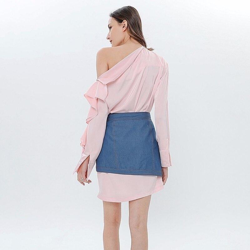 Mini Y023 Ensemble Robe Encolure Taille Deux Les Jupe Haut Jupes Zipper Mode Pièces Pink Broderie Femmes Irrégulière Pour Ruches tgTnxvqw8x