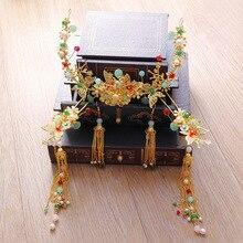 Tradicional chino novias boda Phoenix adornos de pelo corona cereales antiguo borlas trajes vintage nupcial accesorios para el cabello
