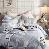 Rabbit Penguin Duvet Cover Sets Full 100% Cotton Set Duvet Cover with Zipper Stripes Bed Sheet/Bedspread Cartoon Bedding Sets