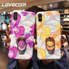LOVECOM Art Flower With Finger Ring Crystal Case For iPhone XR XS Max X 8 7 Plus 6 6S Plus Retro Glaze Soft IMD Phone Back Cover(China)