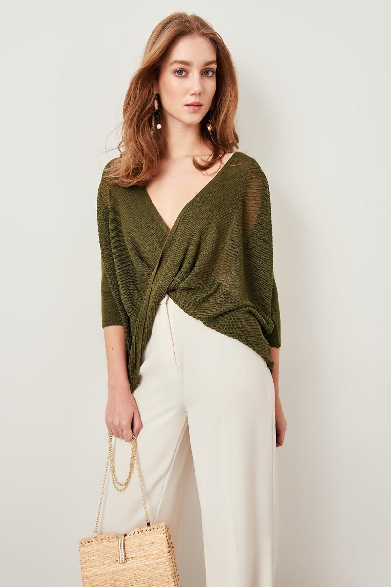 Trendyol Khaki Mesh Detaylı Double Breasted Summer Knitwear Sweater TCLSS19DU0019