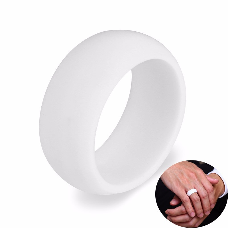 Men S Silicone Wedding Band.Us 1 45 47 Off Men S Silicone Wedding Ring Band In White Silica Gel Rubber Outdoors Workout Fitness Athletes Engineers Male Jewelry In Wedding Bands