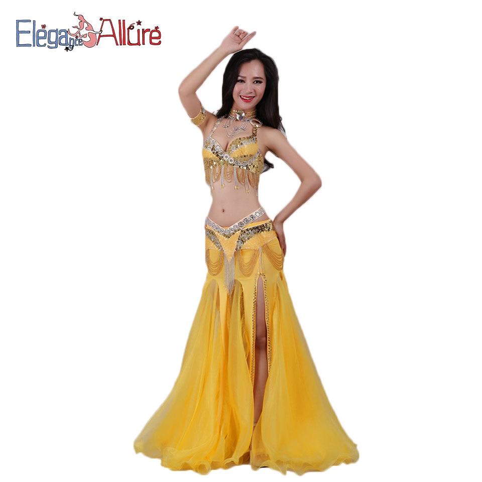 E&A 2pcs Women Belly Dance Costume Performance Set Bellydance Sets Fashion Top Belt Necklace Bracelet Skirt Dancewear Accessory