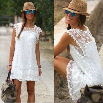 67bb3e047 De las mujeres de la moda de verano vestido de encaje sin mangas o-Cuello  Casual blanco línea Mini vestidos