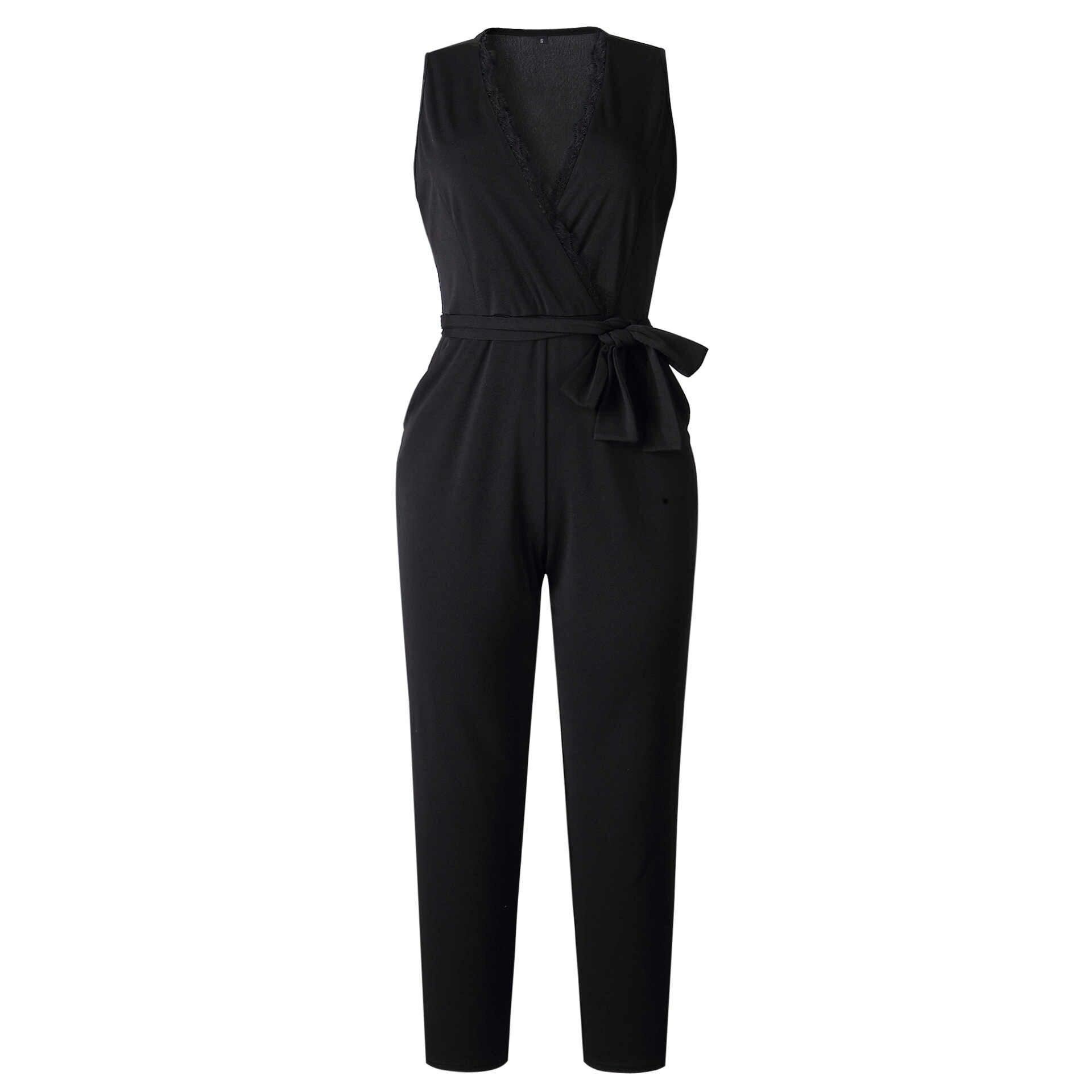 Модный комбинезон, Женская Сексуальная рубашка без рукавов, черный v-образный вырез, ремень, Повседневный, Vestidos, элегантный, с карманами, кружевной комбинезон, N328