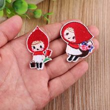 Cartoon Little Red Riding Hood Iron On Patches for Clothing Sticker Girl Decorative apparel for children Embroidery Accessories(China)