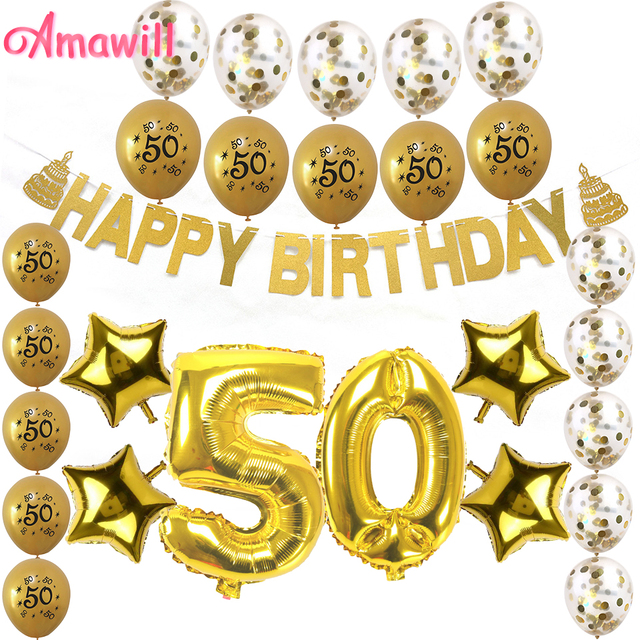 Amawill 50th Birthday Decorations Set Number Foil Balloon Gold Paper Banner Latex Balloons For Adult Party Supplies 8D