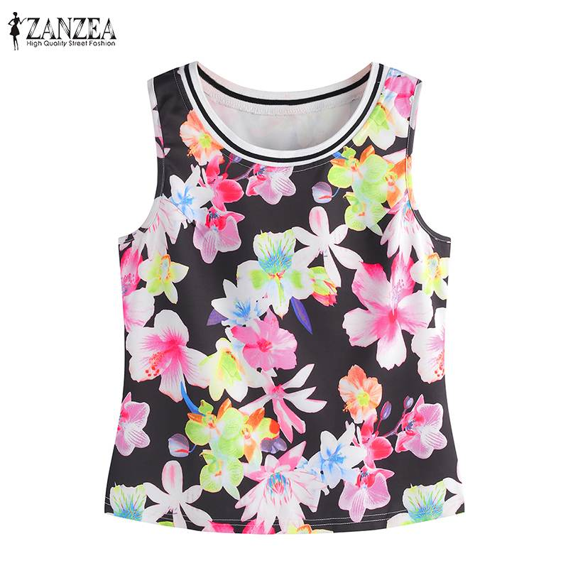 Plus Size Summer Fashion Style Women Print Vest Tops ZANZEA 2019 Casual Loose Sleeveless Round Collar Camis Short Tank Tops XS-L