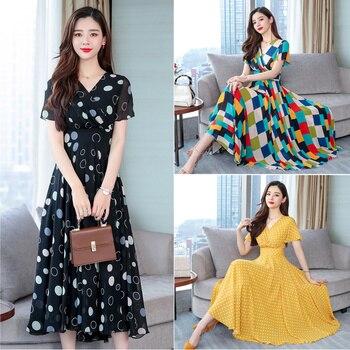 8c4e968f83 Mujer vestido de verano de las nuevas mujeres de manga corta temperamento  larga impresión Floral de gasa vestidos de S-XXXL