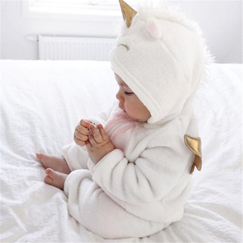 2019 New Autumn Winter Newborn Baby Girl Clothes Cute 3D Unicorn Flannel Long Sleeve Zipper Warm 2019 New Autumn Winter Newborn Baby Girl Clothes Cute 3D Unicorn Flannel Long Sleeve Zipper Warm Romper Jumpsuit Outfit Clothes