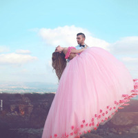 Видеть Оранжевый Индивидуальный заказ бальное платье Роскошные ручной работы Цветочные с открытыми плечами сетчатые платья Розовая фея би
