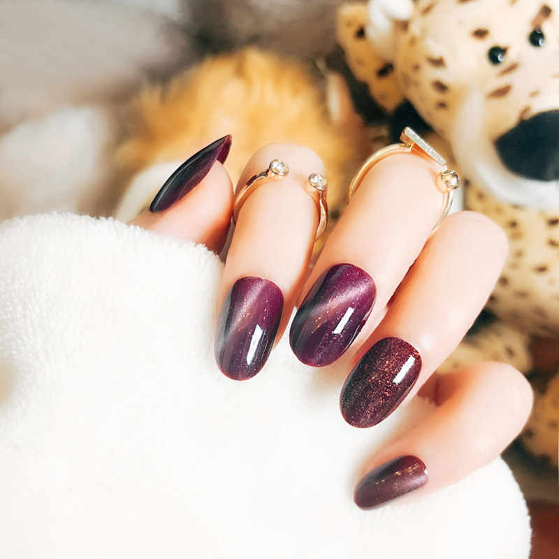 Накладные ногти ELECOOL кошачий глаз, Длинные акриловые накладные ногти с полным покрытием и круглыми акриловыми накладными накладками на ногти, 6 видов цветов