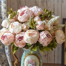 High Quality Silk Flower European Bouquet Artificial Flowers Fall Vivid Peony Fake Leaf Wedding Home Party Decoration