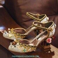 Из Металла Лепнина Кейдж каблук Для женщин Туфли лодочки в богемном стиле Стиль цветы Алмазный Декор жемчугом ретро свадебные туфли женщин