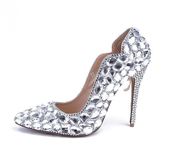 Chaussures Talons Femme Mariage De Diamants Woma Bout Argent Pompes Mode Hauts Pointu Femmes Strass Cristal BPg1wEaq