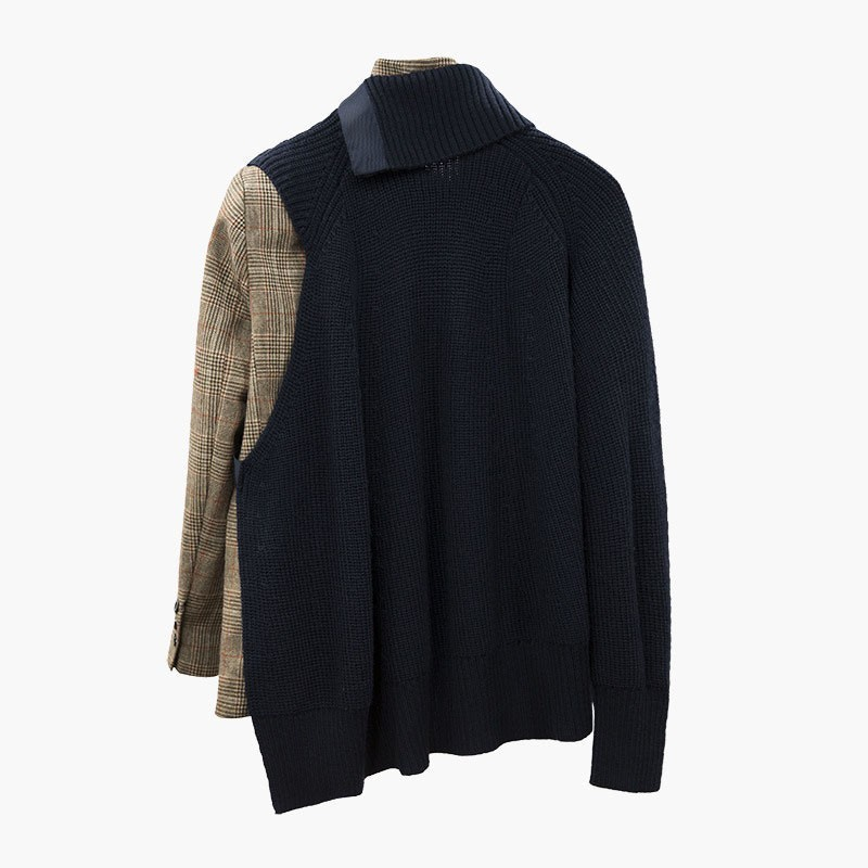 TWOTWINSTYLE Plaid Blazer abrigo mujer manga larga vendaje Patchwork tejido suéter asimétrico mujeres trajes 2019 primavera-in chaqueta de deporte from Ropa de mujer    2
