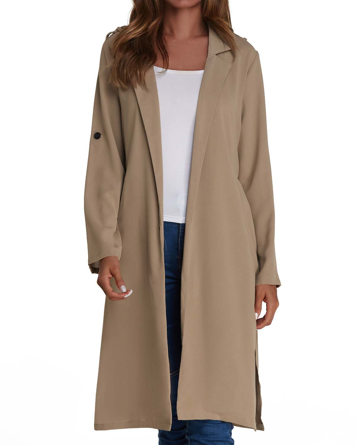Plus Size Solid Coats Women Spring Autumn Full Sleeve Outerwear Long Trench Coat Casual Loose Coat Cardigan Overcoat 2XL