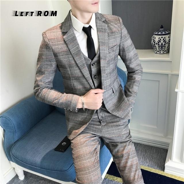 d2c448ada6 (Chaqueta + chaleco + Pantalones) cuadros para hombre traje de boda traje  de hombre