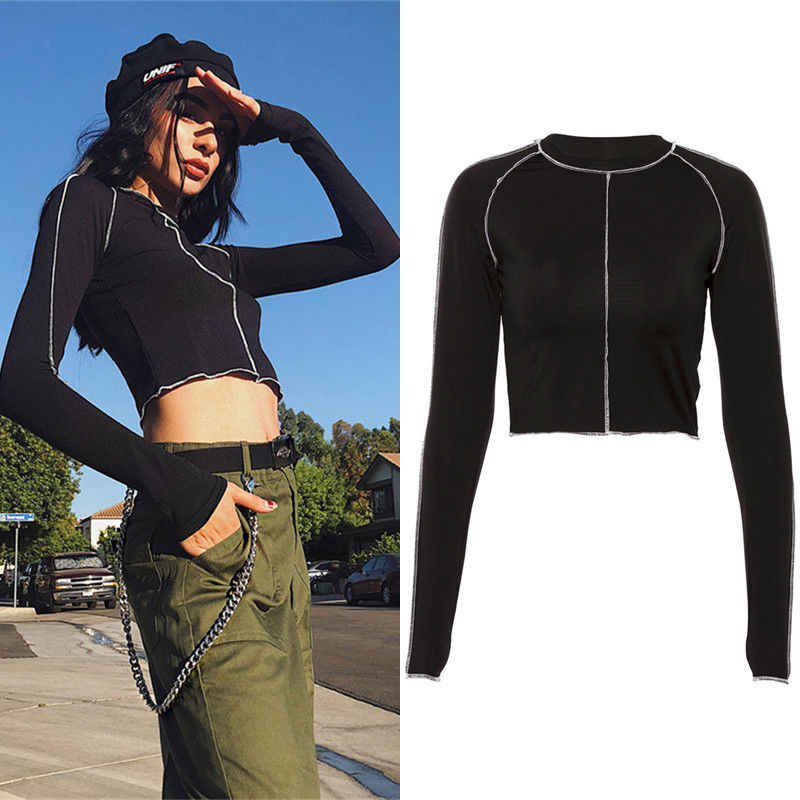 NEW Women's Long Sleeve Slim Fit Black Street Stylish Cool Black T-Shirt Short Stretch Pullover Tee Crop Tops