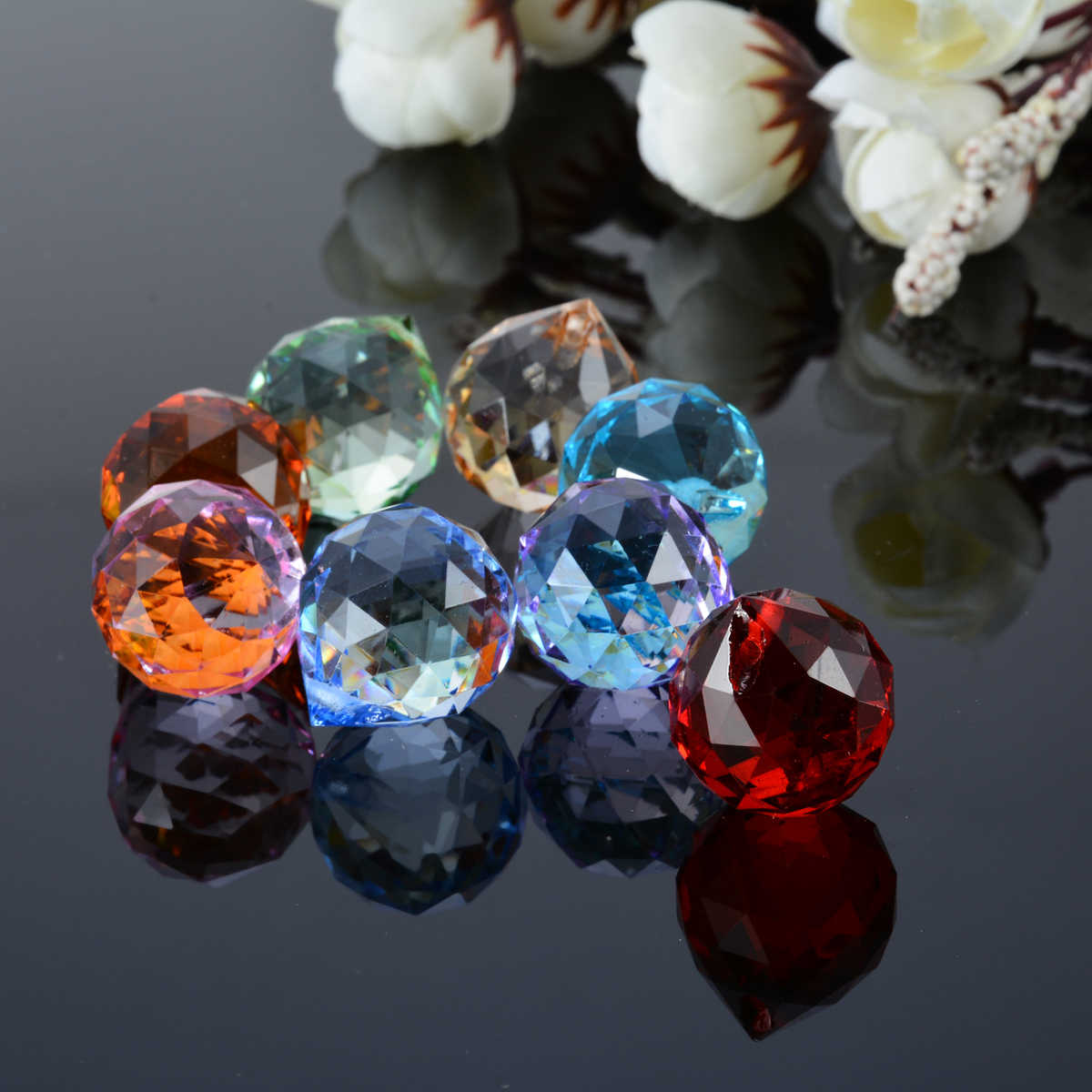 8 шт. подвеска в иде сияющего кристалла, радужная люстра, лампа, часть шара призмы, подвешивание, Висячие висячие украшения для дома
