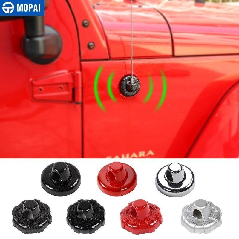 Otomobiller ve Motosikletler'ten Araba Çıkartmaları'de MOPAI araba çıkartmaları Jeep Wrangler JK 2007 + için araba anten tabanı dekorasyon kapak için Jeep Wrangler JL 2018 + araba aksesuarları title=