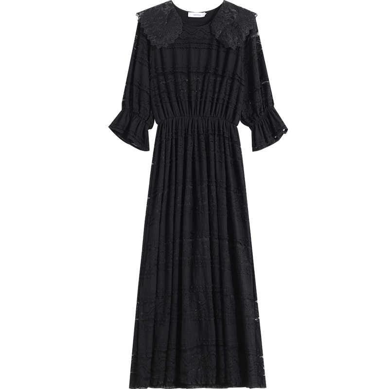 LANMREM выдалбливают Кружева платье для женщин 2019 лето новый шаблон Мода сладкий Половина рукава эластк талии одежда YH07901