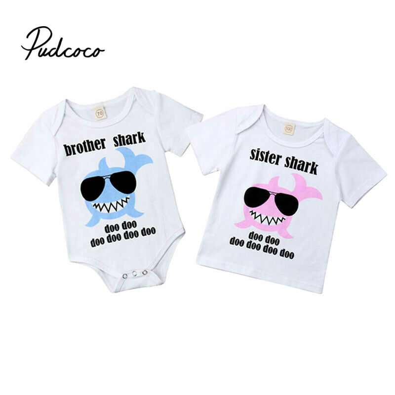Shark Family Clothing Set Baby Kids Girls Boys 2019 New Big Sister Little Brother Short Sleeve Clothes Bodysuit Outfits T Shirts