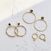 Free shipping 925 silver gold ear ring retro fashion simple gold malachite earrings pendants ear