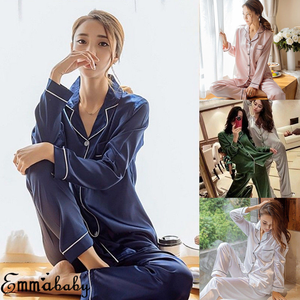 Women Lady Silk Satin Long Sleeve Sleepwear Pants   Pajamas     Set   Pyjama Nightwear Loungewear Homewear PJS 2Pcs Outfits Dropship
