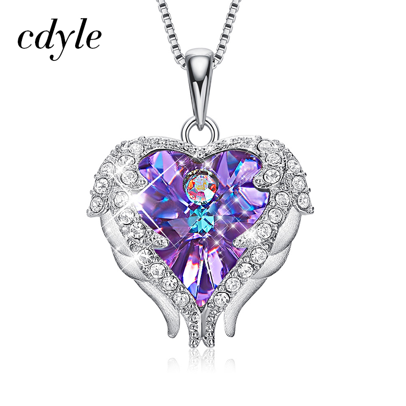 Cdyle Echt 925 Sterling Silber Engel Halskette Kristalle von Swarovski Valentinstag Geschenk Für Frauen Herz Flügel Anhänger