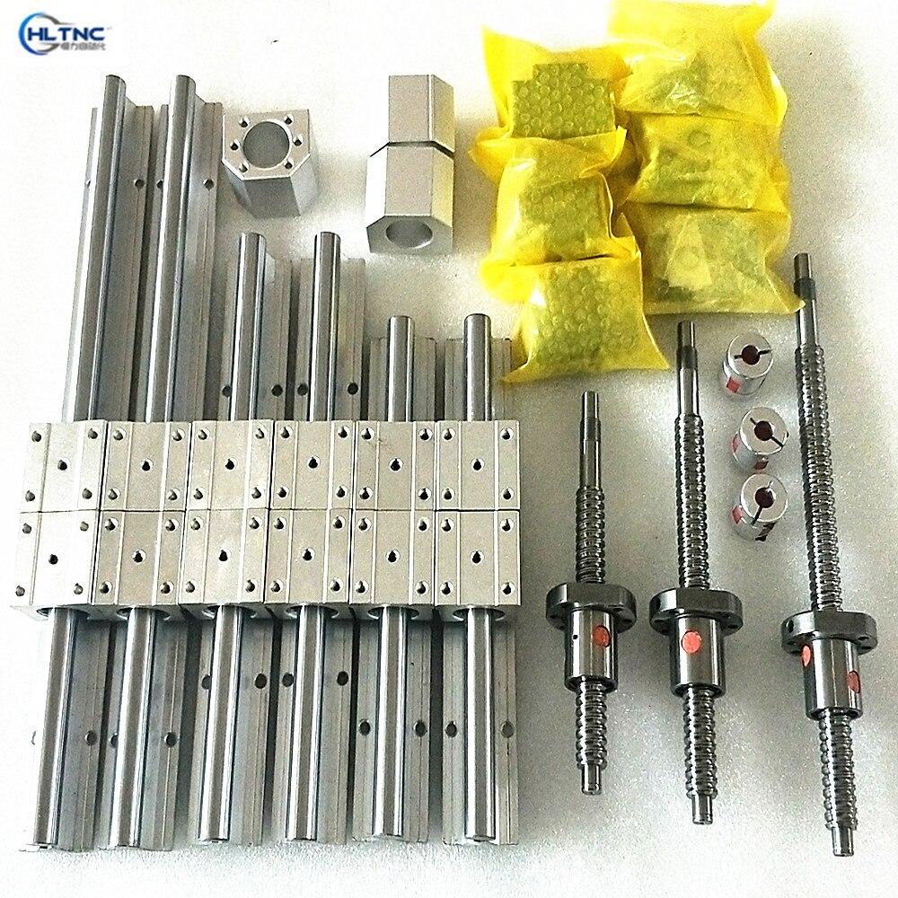 Linear guideway Rail SBR20-400/900/2750mm + bolas parafusos ballscrews SFU2005 + BK BF + acoplamentos + cromado haste linear 8