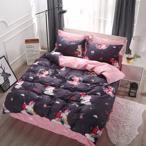 Image 2 - Cartoon Unicorn Bedding Sets Colorful Rainbow and Cloud Pattern Duvet Cover Set Striped Bed Sheet Pillowcases