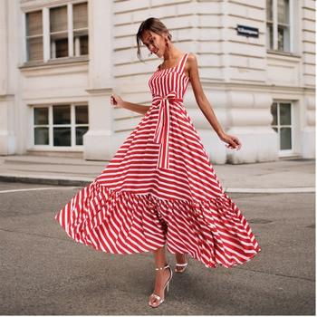 69f270eb37143 Boho Летнее пляжное платье 2019 женское новое модное платье с тонкими  бретельками красное Полосатое платье плюс размер гофрированное Длинное М..