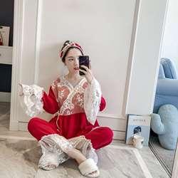 2019 сезон: весна–лето Для женщин Симпатичные пижамные комплекты с брюками хлопка пижамы Кружева v-образным вырезом двойной марля ночное