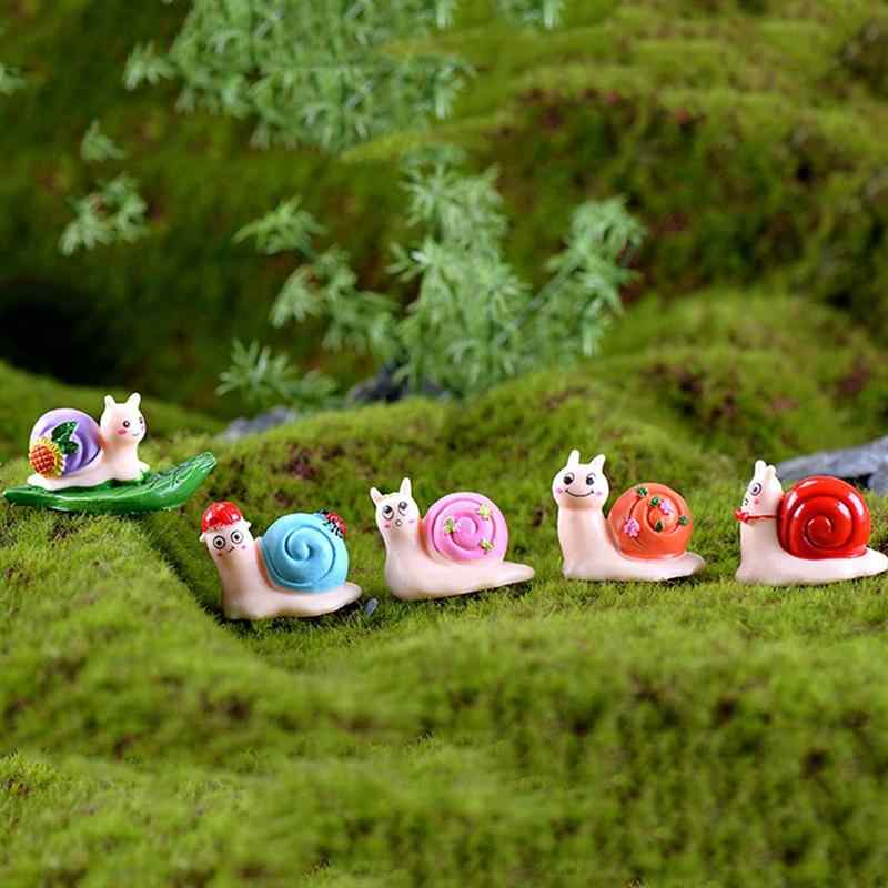 5pcs Miniatures Small Crafts Cute Resin Moss Micro Landscape Snails Ornaments for Home Mini House Fairy Garden Decoration